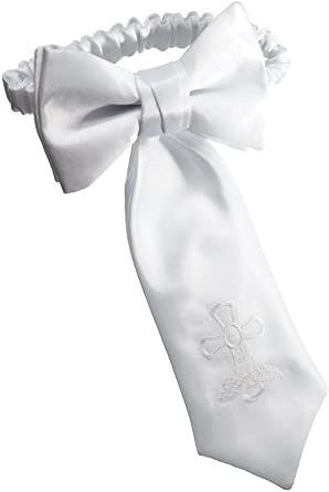 Holiday Bow Ties Boys Communion Neck Tie White Embroidered Religious Cross