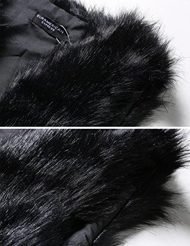 Sintética Largo Parka Piel Sin Abrigo Chaleco Mangas Cardigans Invierno Otoño Carinacoco De Mujeres Faux Negro Chaqueta Pelaje q5XZxWYw