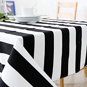 Simple Modern Tablecloth, Rectangular Padded Canvas Tablecloth Suitable for Most Indoor and Outdoor Tables, Black and White Striped,7070
