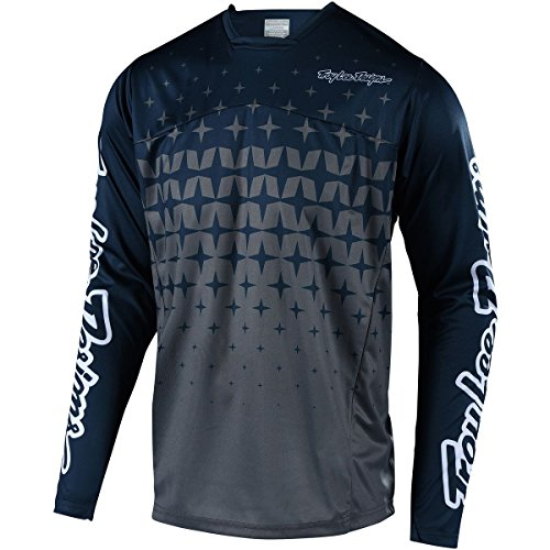 Troy Lee Designs Sprint Long-Sleeve Jersey - Men's Megaburst Gray/Navy, XL - Gray Mens Bike Jersey