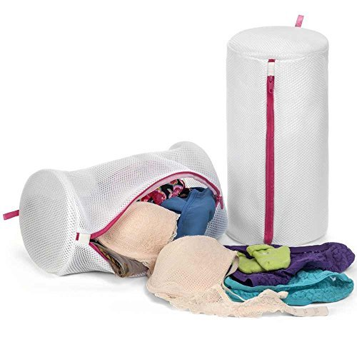 Deluxe Padded Mesh Bra Washing Bags for Plus Sized Bras, Frame Supported, X-Large Capacity, (Set of 2), White and Pink