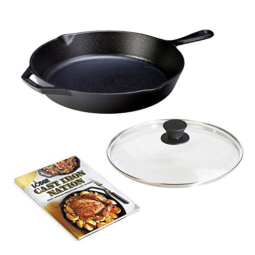 LODGE Pre-Seasoned Cast Iron Skillet (12 inch), Tempered Glass Lid, and Cookbook with 200+ Recipes …