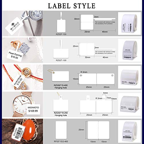 """JINGCHEN Thermal Label Paper, Print with B11/B3, Widely Used in Jewelry/Bracelets/Watches/Accessories/Glasses Label Printing,0.98""""x0.59""""+0.59"""",460 Labels/Roll by JINGCHEN (Image #1)"""