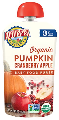 Earth's Best Organic Stage 3, Pumpkin, Cranberry & Apple, 4.2 Ounce Pouch (Pack of 12) (Packaging May Vary)