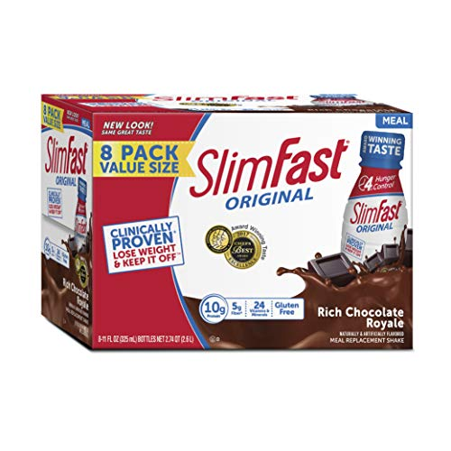 Slim Fast Original weight loss Meal Replacement RTD shakes with 10g of protein and 5g of fiber plus 24 Vitamins and Minerals per serving, Rich Chocolate Royale,  8 Count