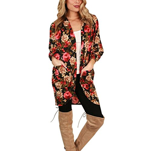 Han Shi Print Cardigan, Women Boho Floral Blouse Loose Shawl Kimono Top Cover Up Shirts (L, Red)