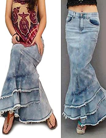 c164ed1ff2b6 gsp-jupe Women Vintage Jean Dark Blue-M Casual Work Cotton Fabric Dark Blue-M   Amazon.co.uk  Sports   Outdoors