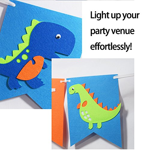 Seasons Stars Dinosaur Happy Birthday Banner( Assembled) with White Letters,Dino Birthday Colorful Felt Banner, Dino Jungle Jurassic Garland photo props For Kids Birthday Dinosaur Party Supplies by Seasons Stars (Image #4)