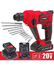 TOPEX 20V Max Lithium Cordless Rotary Hammer Drill Kit w/Battery Charger Bits (3.0Ah One Battery)