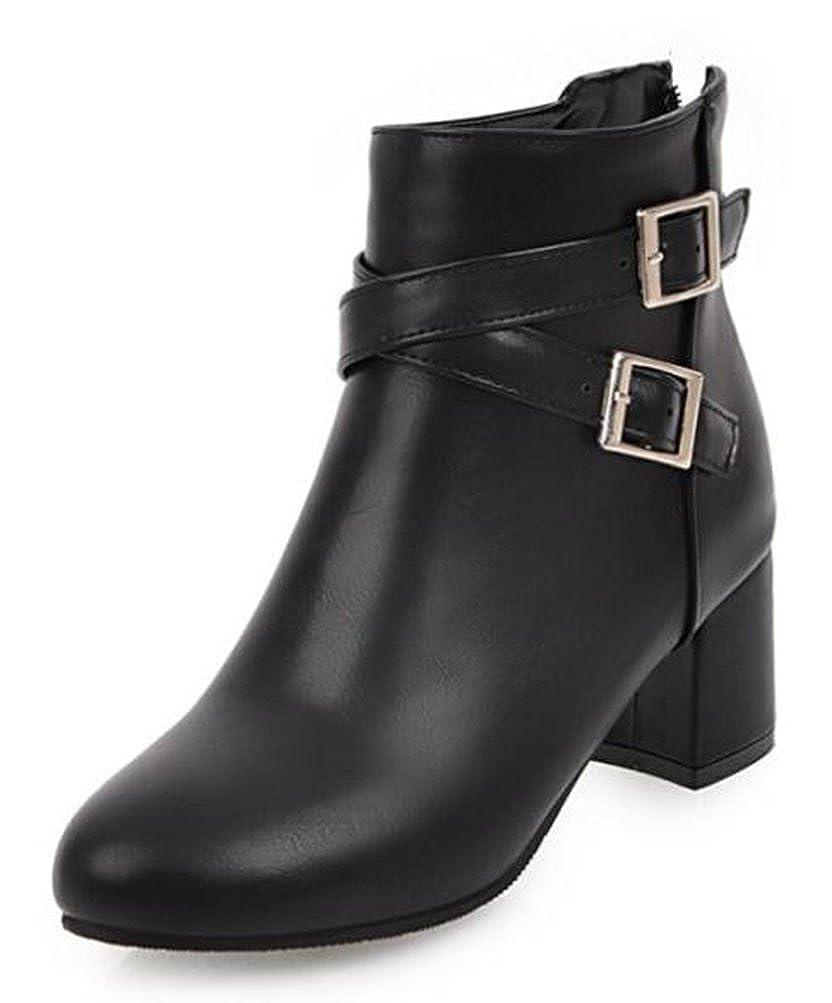 Easemax Damen Damen Damen Elegant Cross Riemen Kurzschaft Chunky Heels Stiefel Mit Absatz ded026