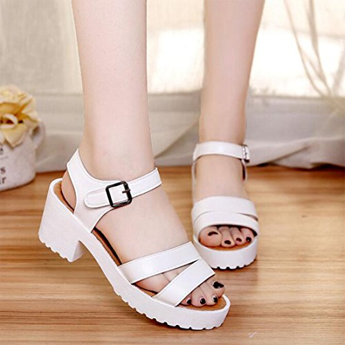 da Tacco alla Sandali White Estivi Spesso Moda Sandali Sandali Donna con x56XfwqPx8
