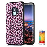 For Samsung Galaxy S9 Case [with Free Screen Protector],Funyee New Creative Leopard Print Plush Flexible Soft TPU Silicone Shockproof Ultra Thin Durable Phone Case for Samsung Galaxy S9,Pink