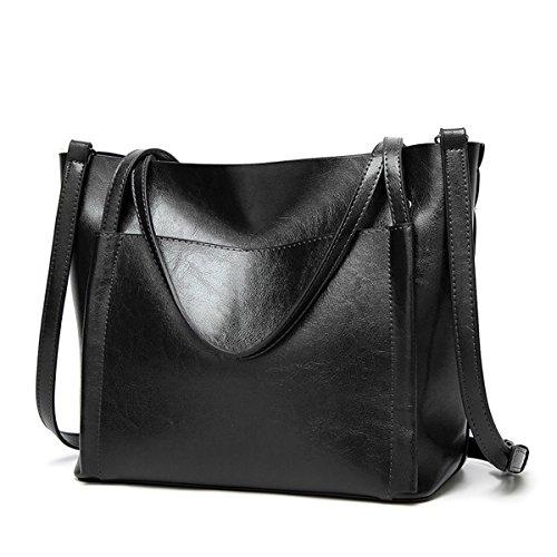 Cuadrado Grande Borgoña Mujer Cubo Negro para Bolsillo Coolives Bolso Tote 5XSxwCpq