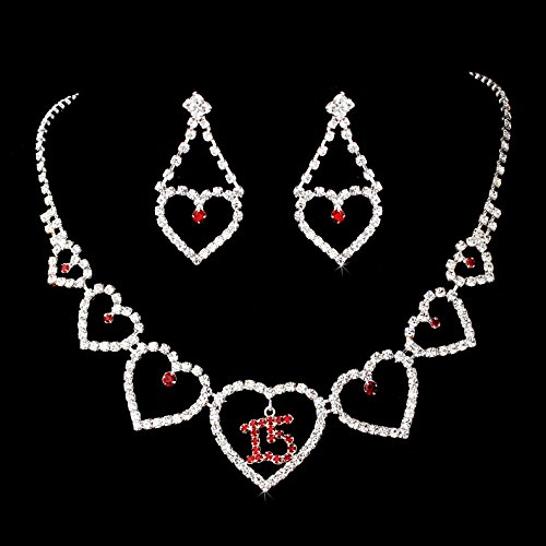 - Red Rhinestone Sweet 15 Quinceañera Heart Necklace & Earring