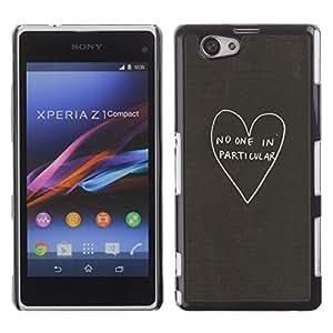 Amor Sin Corazón Emocional Una Gris Profundo- Metal de aluminio y de plástico duro Caja del teléfono - Negro - Sony Xperia Z1 Compact / Z1 Mini (Not Z1)