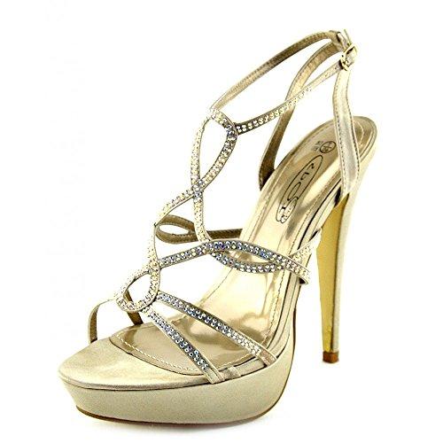 Kick Footwear - Damen Womens Stilletto High Heels Party Schuhe, Ankle Strap Diamente Sandalen Beige