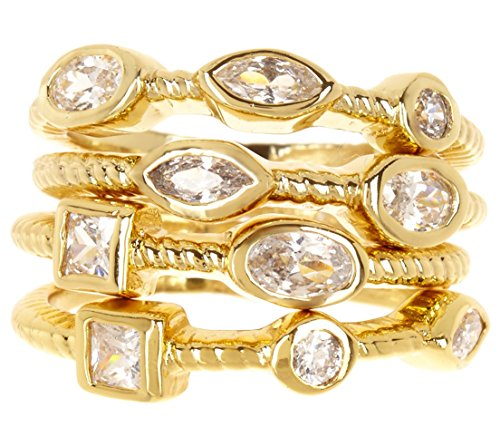 14k Gold Clad CZ Wholesale Gemstone Jewelry Stackable Ring Set (Size 6)