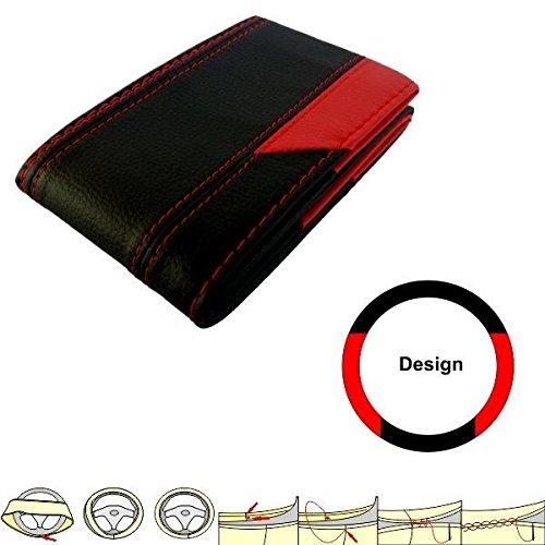 /Negro//Rojo/ akhan sc201br/ /Funda para Volante Schoner m/óvil 37/ /39/cm Piel para Atar