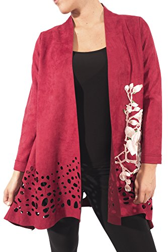 Aris. A Faux Suede Laser Cut Embroidered Burgundy Jacket Style RB17606 Size XL by Aris. A