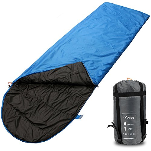 yodo Compact Warm Weather Sleeping Bag for Outdoor Camping Hiking Backpacking Travel with Compression Sack for Women and Men,60-80 Degree F,Blue