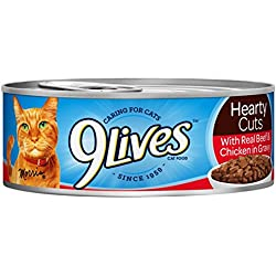 9Lives Hearty Cuts With Real Beef & Chicken In Gravy Wet Cat Food, 5.5-Ounce Cans (6 - 4 Pack)