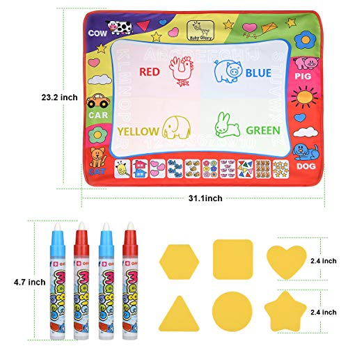 Magic Water Drawing Mat Large Doodle Mat 31.4 x 23.6in Painting Board Writing Mats 4 Pens 8 Molds Kids Educational Learning Toy Gift for Boys Girls Toddlers Age 2 3 4 5 Year Old Toddler Toys Gift Box