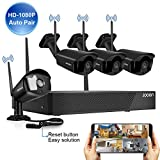 [2020 update] Security Camera System Wireless JOOAN 4-Channel HD 1080P NVR with 4Pcs 1080P Wireless Camera, home outdoor/indoor WiFi Surveillance System Good Night Vision With Motion Dectection & Email/APP Alarm, P2P