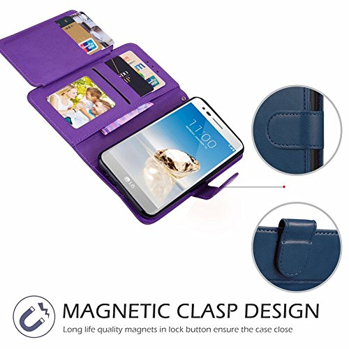 LG Stylus 4 Case, LG Q Stylus Case, LG Stylo 4 Case With Screen Protector, I VIKKLY [Kickstand] Magnetic Snap Premium PU Leather Wallet with Card Slot Folio Flip Case for Stylo 4 (2018) (Purple) by I VIKKLY (Image #8)