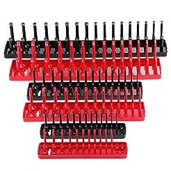 6PCS Socket Organizer Tray Set, Red SAE ...