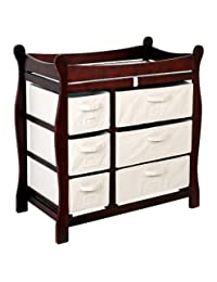 Cherry Sleigh Style Changing Table with Six Baskets by Badger Basket BOBEBE Online Baby Store From New York to Miami and Los Angeles