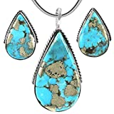 Turquoise Pendant & Earrings Set in 925 Sterling Silver with 20'' Chain (Pendant+Earrings+Chain)