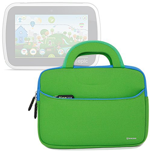 Evecase Slim Neoprene Briefcase w/Handle & Accessory Pocket/Ultra Portable Travel Carrying Pouch Cover - Green For LeapFrog Epic/LeapPad Platinum/LeapPad Ultra XDI 7-inch Kids Tablet