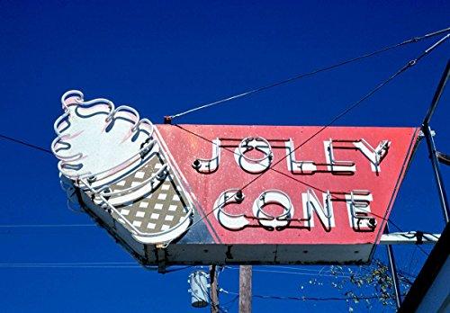 - Roadside America Photo Collection   1979 Jolly Cone ice Cream Sign, Rt. 60, Van Buren, Missouri   Photographer: John Margolies   Historic Photographic Print 24in x 18in