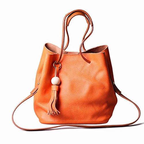 Hunpta Frauen Tassel Schultertasche aus Leder Tasche Handtasche Shopper Messenger Umhängetaschen Orange g3GwDQnt