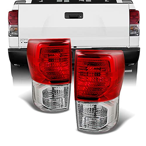 For Toyota Tundra Pickup Truck Red Clear Tail Lights Rear Brake Lamp Replacement Left + Right Pair