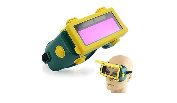 Xpccj Casco de Soldadura, Auto oscurecimiento LCD Soldadura Gafas Solar Mascarilla Gafas Soldador Gas Protección Ojo Gafas Gafas Gafas Gas Lente Flip Up: ...