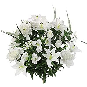 Admired By Nature ABN1B001-CRM 40 Stems Artificial Full Blooming Lily, Rose Bud, Carnation and Mum with Greenery Mixed Flower Bush, Cream, 117