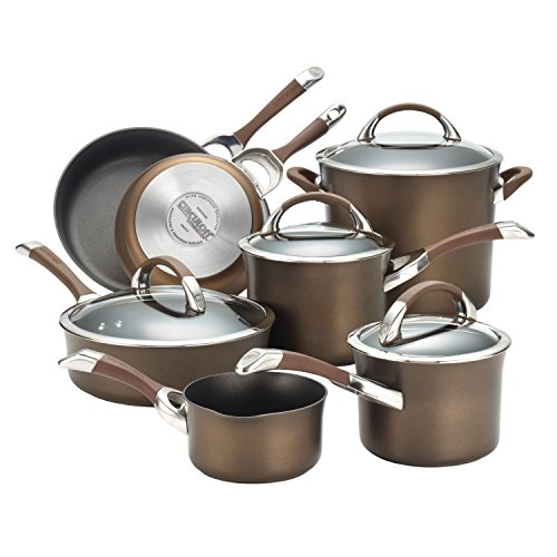 Circulon Symmetry Hard-Anodized Nonstick 11-Piece Cookware Set, Chocolate ()
