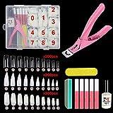 Acrylic False Nail Tips Kit, 600pcs Coffin Clear and Natural Half Fake Nail Tips with Storage Case,5 Nail Glues,1 Professional Nail Clipper,Nail File,Sponge Polishing,Nail Glue Remover