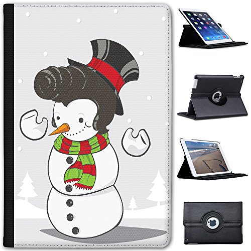 Leather Case for Apple iPad Mini 4 (Will ONLY fit The iPad Mini 4) - Elvis Hair Snowman Smiling Happy ()