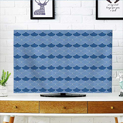 Classic Scallop Circle - L-QN tv Protective Cover Scallop Patterns Circles with Pastel Colors Oval Fish Wave Home tv Protective Cover W32 x H51 INCH/TV 55