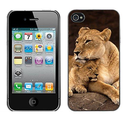 Premio Sottile Slim Cassa Custodia Case Cover Shell // V00002630 Lionne et CUB // Apple iPhone 4 4S 4G