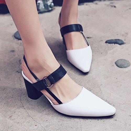 Jqdyl High Heels Weibliche Sandalen Sommer Spitze High Heel Baotou  38|White
