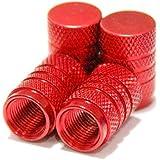 【Areyss】汎用 アルミエアバルブキャップ 円筒型 4個セットパッケージ版(赤 レッド) 140836