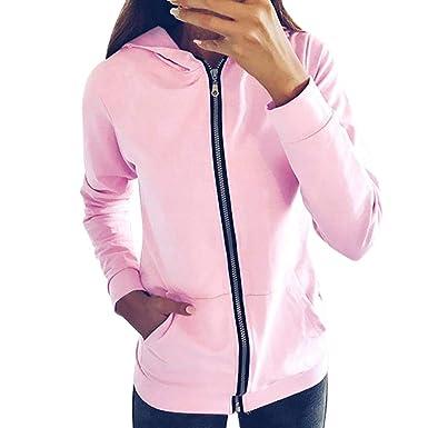 ALIKEEY Harrystore Moda Mujer Cremallera Manga Larga Sudadera Abrigo Outwear Chaqueta con Capucha Abrigo Mujer Chaqueta: Amazon.es: Ropa y accesorios