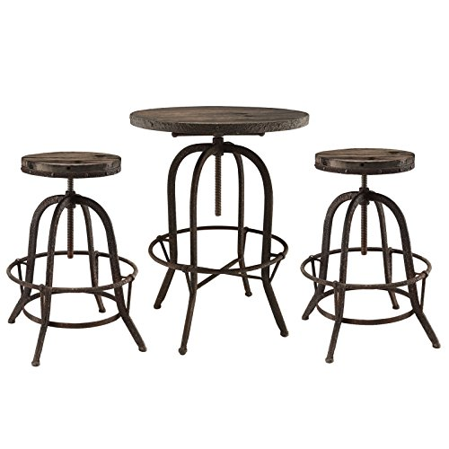 Lexington Pub Table (Modway Sylvan Industrial Modern Bar Table and Two Bar Stools in Brown - 3-Piece Dining Set)