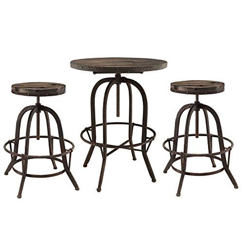 (Industrial Modern 3 Pcs Dining Bar Table Set, Brown)