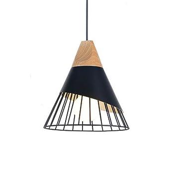 Lustre Aluminium Cage Bois Lampe Cône Créatif Suspension Zaofan lFcKJ1