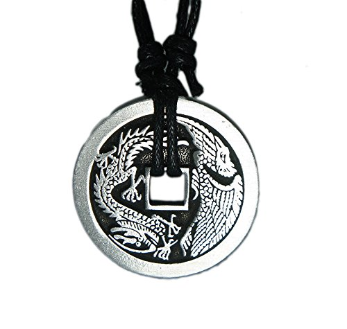 (exoticdream Chinese Lucky Coin Charm Pewter Pendant + Rope Necklace Adjustable - Dragon Phoenix)