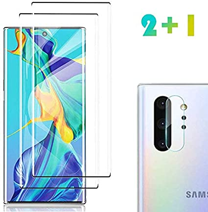 2 Pack Galaxy Note 10 Plus Screen Protector Tempered Glass Include A Camera Lens Protector Glass Screen Protector With 3d Curved Hd Clear Full